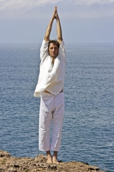 posture exercises picture, stretching man on beach